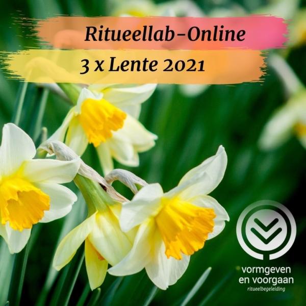 Bloeiende narcissen op de achtergrond, met een banner voor het aanbod Ritueellab-Online Lente